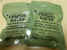 2 QUIKCLOT COMBAT GAUZE VACUUM PACKED AND Z-FOLDED, NSN 6510-01-562-3325