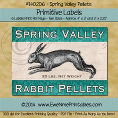 Label Sheet - Spring Valley Rabbit Feed, Printable, Instant Download $2.50