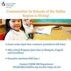 CISDR is Hiring! Please share with anyone who might be interested.  Contact NitishiaB@cisdallas.org or call 214.827.0955 ext 221
