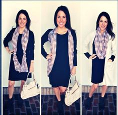Looking for a perfect black piece for fall? This black sweater dress is CRAZY soft, fits great, and can be worn as is with booties (we did our olive booties) or high boots but can also be worn with leggings. A black sweater dress is a great canvas to start your accessorizing with scarves, vests (we turned our scarf into a vest!) or jackets! This dress is $68 XS-L and fits generous. The cream colored pocketed lightweight coat is $82.