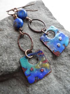 Montana Sky ... Enameled Copper, Lapis Lazuli and Bronze/Brass Wire-Wrapped Rustic, Boho, Earthy Earrings