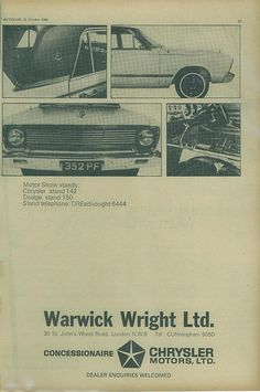 https://flic.kr/p/8yhcUd | 1966 Chrysler VC Valiant ad (UK) pg 2 | Page 2 of a 2 page British magazine ad for Australian built 1966 Chrysler VC Valiant sedan and wagon (estate). Available from Warwick Wright Ltd Chrysler Concessionaire of 30 St John's Wood Road London. The cars were on display at Earl's Court Motor Show 1966.