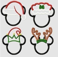 Christmas Miss and Mister Mouse Heads FOUR design SET, Elf, Reindeer, Santa, Mrs. Claus, Machine Applique Embroidery Designs- Multiple sizes, including 4 inch