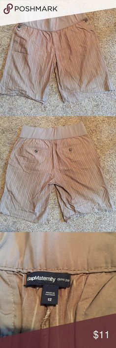 Brown striped Demi panel maternity shorts Gap maternity brown pin striped shorts with demi panel. Washed but never worn. Would look super cute with a simple tee or tank. Side and back pockets. Shorts are a little longer. Inseam is about 9 inches GAP Shorts