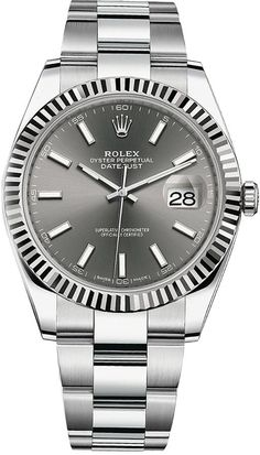 Purchase brand new Rolex Datejust 41 mm Steel White Gold Case Slate Dial Fluted Bezel Oyster Bracelet Watch - Elegant Watches, Stylish Watches, Luxury Watches For Men, Beautiful Watches, Cool Watches, Rolex Watches, Wrist Watches, Buy Rolex, 5 Elements