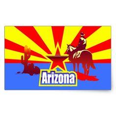 Arizona State Flag Vintage Drawing Rectangular Sticker