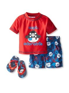 58% OFF Wippette Baby-Boy Captain Adorable Short & Rash Guard Set (Red)