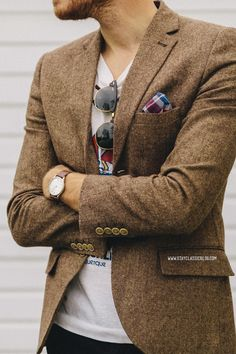 Tweed, pocket square and t
