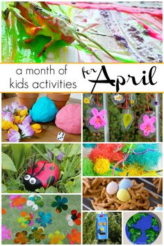 A month of Kids Crafts & Activities for April! 30 hands-on learning activities for toddlers and preschoolers. Spring themed activities in our free activity calendar. Flowers, bugs, rainbows, bird feeders and more! Preschool Craft Activities, Toddler Learning Activities, Indoor Activities For Kids, Spring Activities, Spring Crafts For Kids, Projects For Kids, Art Projects, Toddler Crafts, Kids Crafts