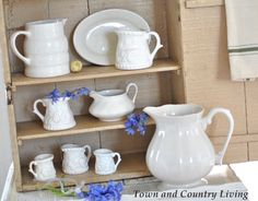 In my attempt to give our old farmhouse a legitimate farmhouse look both inside and out, I wanted to build up a collection of white ironstone. I seem to be drawn mostly to pitchers in all shapes and sizes. Large ironstone pitchers in pristine shape are quite pricey so I decided to collect a range …