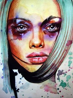 """Olga Noes """"I'm a self-taught portrait artist by trade, with my primary fuel for creativity being juxtaposition. Art And Illustration, Illustration Fashion, Watercolor Portraits, Watercolor And Ink, Portrait Paintings, Woman Painting, Painting & Drawing, Face Art, New Art"""