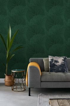 Store Blade mørkegrøn - tapet - m - fra Tapetcompagniet Living Room Green, Home Living Room, Home Bedroom, Bedroom Wall, Home Trends, Textured Walls, Interior Inspiration, Home Furniture, Decoration