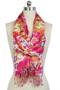Bright floral scarf.  Hello spring!