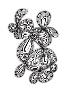 Renates Zentangle 16.08.2018 Ink Drawings, Zentangles, Adult Coloring, Floral, Flowers, Books, Jewelry, Art, Adult Colouring In