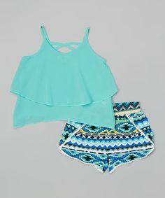 Love this Mint Chiffon Crop Top & Geometric Shorts - Toddler & Girls on #zulily! #zulilyfinds