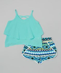 Love this Mint Chiffon Crop Top & Geometric Shorts - Toddler & Girls on #zulily! #zulilyfinds