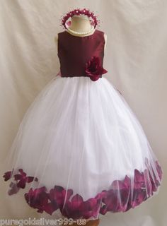 $24.75 Ebay.com BURGUNDY WINE CHRISTMAS PAGEANT PARTY FLOWER GIRL DRESS 18-24M 2 4 6 8 10 12 14