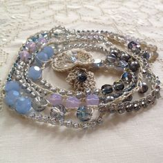 Periwinkle blue crystal and gray pearl by LisasWishingWELL on Etsy, $55.00