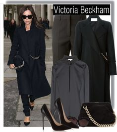 """Victoria Beckham all dressed in Victoria Beckham for London Fashion Week"" by anne-mclayne ❤ liked on Polyvore"