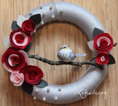 Silver Gray Yarn Felt Wreath with Red and Maroon Roses, Pearls and a Bird - https://www.facebook.com/Luksdecor                                                                                                                                                                                 More