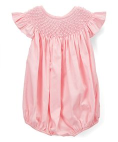 Look at this Barefoot Children's Clothing Pink Pearl Angel-Wing Bubble Romper - Infant & Toddler on #zulily today!