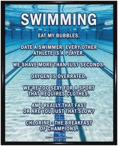 """Swimming Lanes Poster Print has an underwater pool image and funny sayings. """"Date a swimmer. Every other athlete is a player,"""" is one motivational swimming quote on this poster. Swimming Poster P Swimming Funny, Swimming Memes, I Love Swimming, Swimming Tips, Swimming Posters, Funny Swimming Quotes, Funny Sayings, Olympic Swimming, Swimming Workouts"""