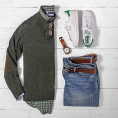 outfit grid Stan's the man. Donegal Sweater: Shirt: Banana Republic Shades: mahinder rajput Watch: Diesel Shoes: adidas Originals Stan Smith Denim: Bonobos x Belt: Mode Outfits, Casual Outfits, Men Casual, Fashion Outfits, Smart Casual, Simple Outfits, Mode Masculine, Adidas Stan Smith, Mode Man