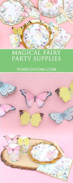 Fairy Birthday Party Ideas for a magical Fairy Party!  Fairy Party decorations including butterfly garland, fairy cups, airy plates and more!