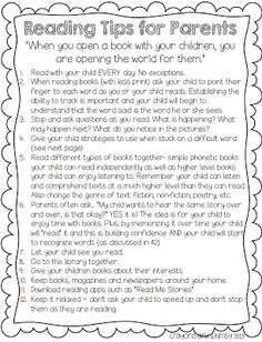 Balanced Literacy - This is a good reference sheet for parents!