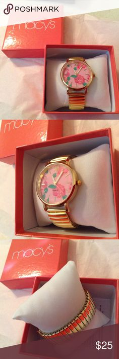Macy's Flower Faced Gold Toned Stretch Watch, NIB This Is A Really Nice Flower Faced Watch I Purchased From Another Posher  As A Gift And She Didn't Like Stretch Bands So I'm Reposhing This Beautiful Watch That Is a In  Is In Excellent working Condition! Comes With Box And Pillow As Shown In The Picture! Thanks ! 🎈Price Firm This What I Paid! Lol Macy's Accessories Watches
