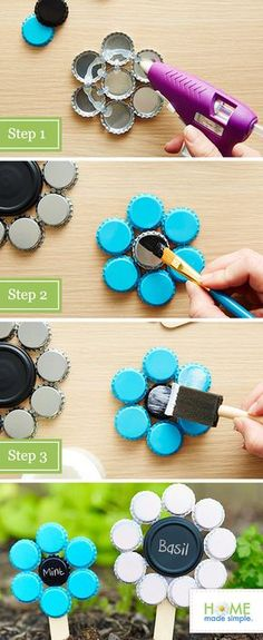 Upcycled bottle cap plant markers made with craft sticks and chalkboard paint.