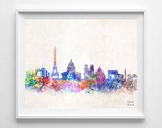Paris Skyline Print France Watercolor Poster von InkistPrints