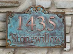 Two tone Address Plaque in Luminore Copper and Iron Trim with Verde Patina (heavy) and rust.