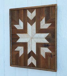 Handmade wooden quilt block design rustic wall art