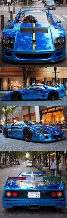Awesome Ferrari 2017: 1989 Ferrari F40 LM / 760hp / Italy / blue chrome wrap... Car24 - World Bayers Check more at http://car24.top/2017/2017/04/13/ferrari-2017-1989-ferrari-f40-lm-760hp-italy-blue-chrome-wrap-car24-world-bayers/