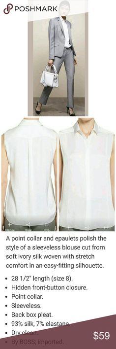 Hugo Boss Womens Beala Sleeveless Silk Blouse 8 NWOT, beautiful! Hugo Boss Tops Blouses
