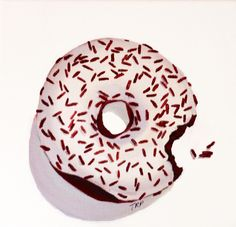 """""""White Donut With Chocolate Sprinkles"""" 8x8 - Oil Painting - by Terry Romero Paul"""