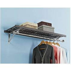 allen + roth 48-in W x 16-in D Rustic Gray Wood Closet Shelf Kit
