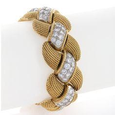 Van Cleef & Arpels Mid Century Diamond Gold Bracelet, (With images) Diamond Bracelets, Sterling Silver Bracelets, Diamond Jewelry, Bangle Bracelets, Gold Jewelry, Jewelery, Bangles, Luxury Jewelry, Silver Earrings