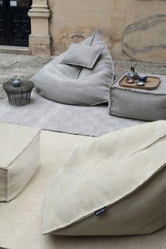 sitzsack outdoor teppiche neutrale farben