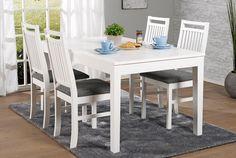 MODULI-pöytä 140 x 85 + 40 cm ja 4 kpl valkoinen LUNA-pinnatuoli - Moduli-ruokapöydät nyt -20% | Sotka.fi