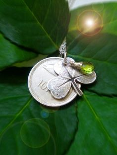 Items similar to Irish Shamrock Necklace Vintage Coin Luck Of The Irish - Eco Friendly Recycled Silver - The Salmon Of Knowledge on Etsy