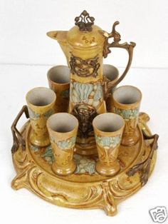 Art Nouveau Chocolate pot, cups and tray! (I would love to have a complete set like this)