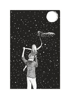 """ - I made this childrensbook illustration of father and daughter catching stars by night with black pen and ink and a little bit of silverpen. Daddy Daughter Pictures, Father Daughter, Family Illustration, Illustration Art, Dad Drawing, Valentines For Daughter, Business Cartoons, Children Sketch, Retro Advertising"