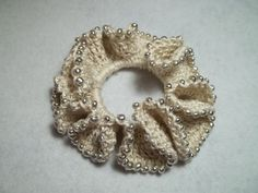 Bead crochet scrunchie, off white and silver hair tie | BeadnNeedles - Accessories on ArtFire