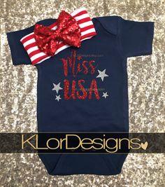 Miss USA Onesie  Patriotic onesie Baby Girl onesie USA