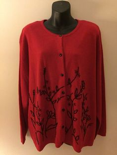 LAURA SCOTT RED CARDIGAN SWEATER Black Beads Womens Plus  2X 20w-22w BUTTON UP #LauraScott #Cardigan