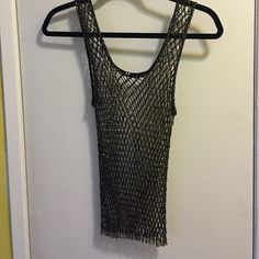 Beaded mesh tank s/m Beaded mesh stretchy tank, gold beads, black thread, super cute over a long fitted black dress no tags, fits a small or medium Tops Tank Tops