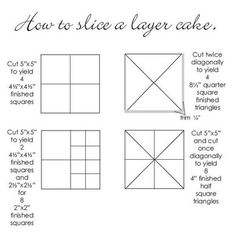 how to slice a layer cake - quilting Layer Cake Quilt Patterns, Layer Cake Quilts, Quilt Block Patterns, Quilt Blocks, Layer Cakes, Quilting Tools, Quilting Tutorials, Quilting Projects, Quilting Designs