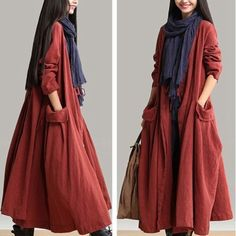"""A03 47"""" Casual 100% Linen Reversible Big Pocket Women's Long Wind Jacket Coat #AQ #BasicCoat"""